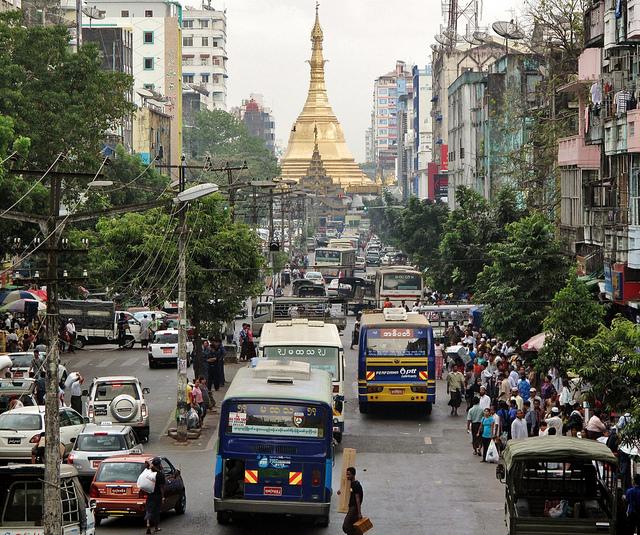 City center near Shwedagon Pagoda. Yangon, Burma. Photo by Francisco Anzola (via Flickr Creative Commons).